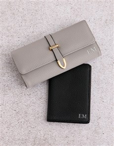 gifts: Personalised Grey Purse and Passport Holder!