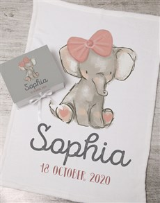 gifts: Personalised Girl Elephant Box With Blanket!