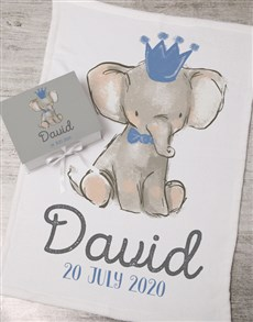 gifts: Personalised Boy Elephant Box With Blanket!