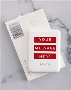 gifts: Personalised Red Message Romoss Power Bank!