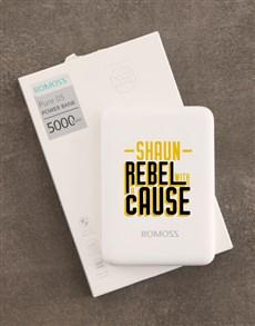 gifts: Personalised Rebel Romoss Power Bank!