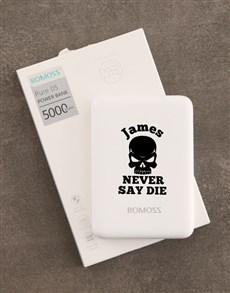 gifts: Personalised Never Die Romoss Power Bank !
