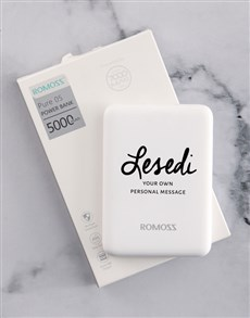 gifts: Personalised Cursive Name  Romoss Power Bank!