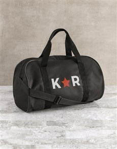 gifts: Personalised Star Initials Black Gym Bag!