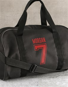 gifts: Personalised Team Player Black Sports Bag!