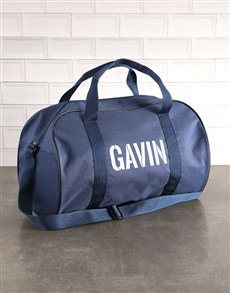 gifts: Personalised Stencil Navy Sports Bag!