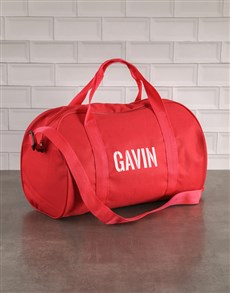 gifts: Personalised Stencil Red Sports Bag!