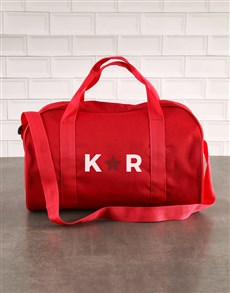 gifts: Personalised Star Initials Red Gym Bag!