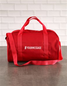 gifts: Personalised Hashtag Red Gym Bag!