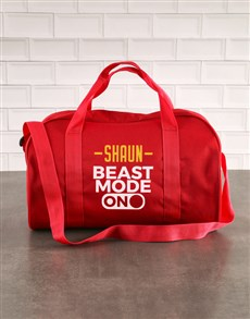 gifts: Personalised Beast Mode Red Sports Bag!