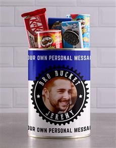gifts: Personalised Blue Photo Bro Bucket Hamper!