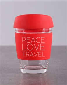 gifts: Personalised Peace Love Travel Kooshty Mug!