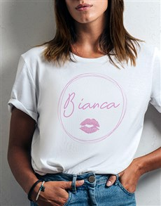 gifts: Personalised Kiss Print Ladies White Tshirt!