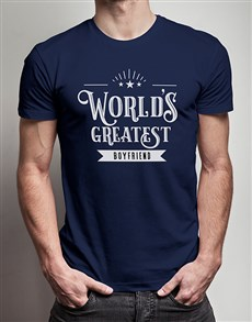 gifts: Personalised Worlds Greatest Boyfriend Navy Tshirt!