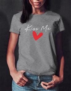 gifts: Personalised Kiss Me Grey Ladies Tshirt!