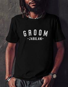gifts: Personalised Groom Black Tshirt!