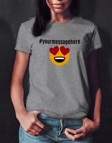 gifts: Personalised Heart Eyes Emoji Ladies White Tshirt!