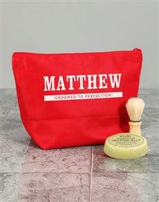 gifts: Personalised Mens Grooming Red Wash Bag!