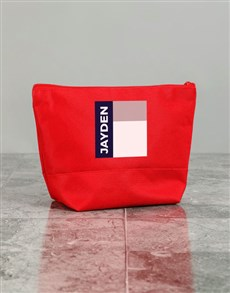 gifts: Personalised Mens Graphic Red Wash Bag!