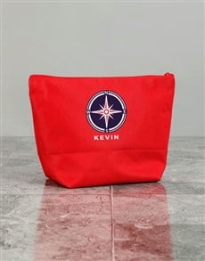 gifts: Personalised Mens Compass Red Wash Bag!
