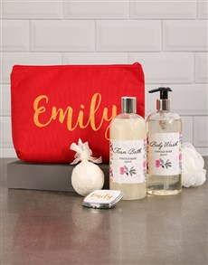 gifts: Personalised Red Cosmetic Bag!