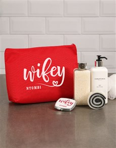 gifts: Personalised Wifey Red Cosmetic Bag!