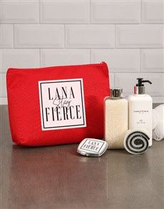 gifts: Personalised Fierce Red Cosmetic Bag!