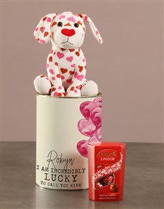 gifts: Personalised Puppy Love Teddy And LindtTin!