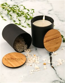 gifts: Personalised Bamboo Vanilla Scented Candle Set!