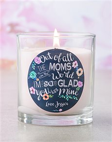 gifts: Personalised Pink Out Of All The Moms Candle!