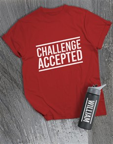 gifts: Personalised Challenge Accepted T Shirt and Bottle!