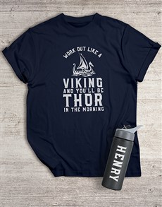 gifts: Personalised Viking Workout T Shirt and Bottle!