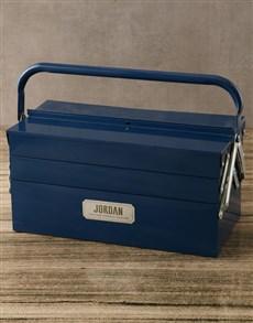 gifts: Personalised Blue Meta Tool Box!
