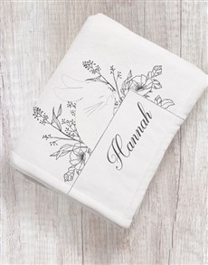 gifts: Personalised Bunny Sketch Baby Blanket!