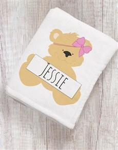 gifts: Personalised Cute Bear Baby Blanket!