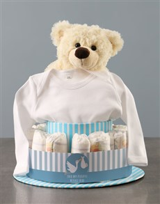 gifts: Personalised Baby Boy Clothing Nappy Cake!