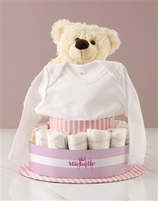 gifts: Personalised Baby Girl Teddy Bear Nappy Cake!