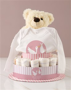 gifts: Personalised Baby Girl Clothing Nappy Cake!