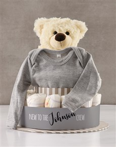 gifts: Personalised New To The Crew Nappy Cake!