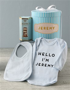 gifts: Personalised Blue Striped Baby Clothing Hat Box !