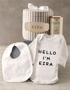 gifts: Personalised Grey Striped Baby Clothing Hat Box!