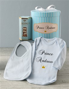 gifts: Personalised Blue Prince Baby Clothing Hat Box!