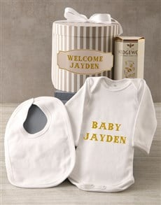 gifts: Personalised Blue Welcome Baby Clothing Hat Box !
