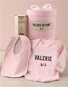 gifts: Personalised Pink Stork Baby Clothing Hat Box!