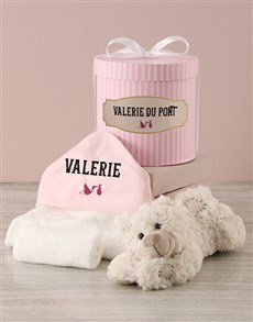 gifts: Personalised Pink Bath Time Striped Hat Box Hamper!