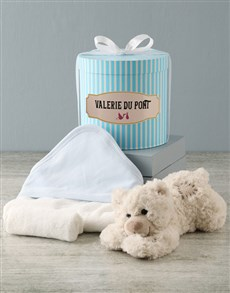 gifts: Personalised Blue Bath Time Striped Hat Box Hamper!