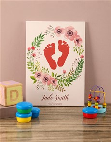 gifts: Personalised Flower Wreath Baby Canvas!