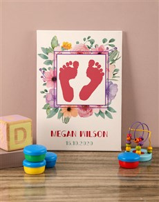 gifts: Personalised Flower Portrait Baby Canvas!