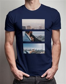 gifts: Personalised Black Photo Triptych T Shirt!