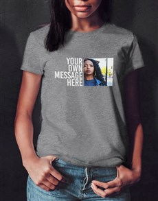 gifts: Personalised Grey Photo Message Ladies T Shirt!